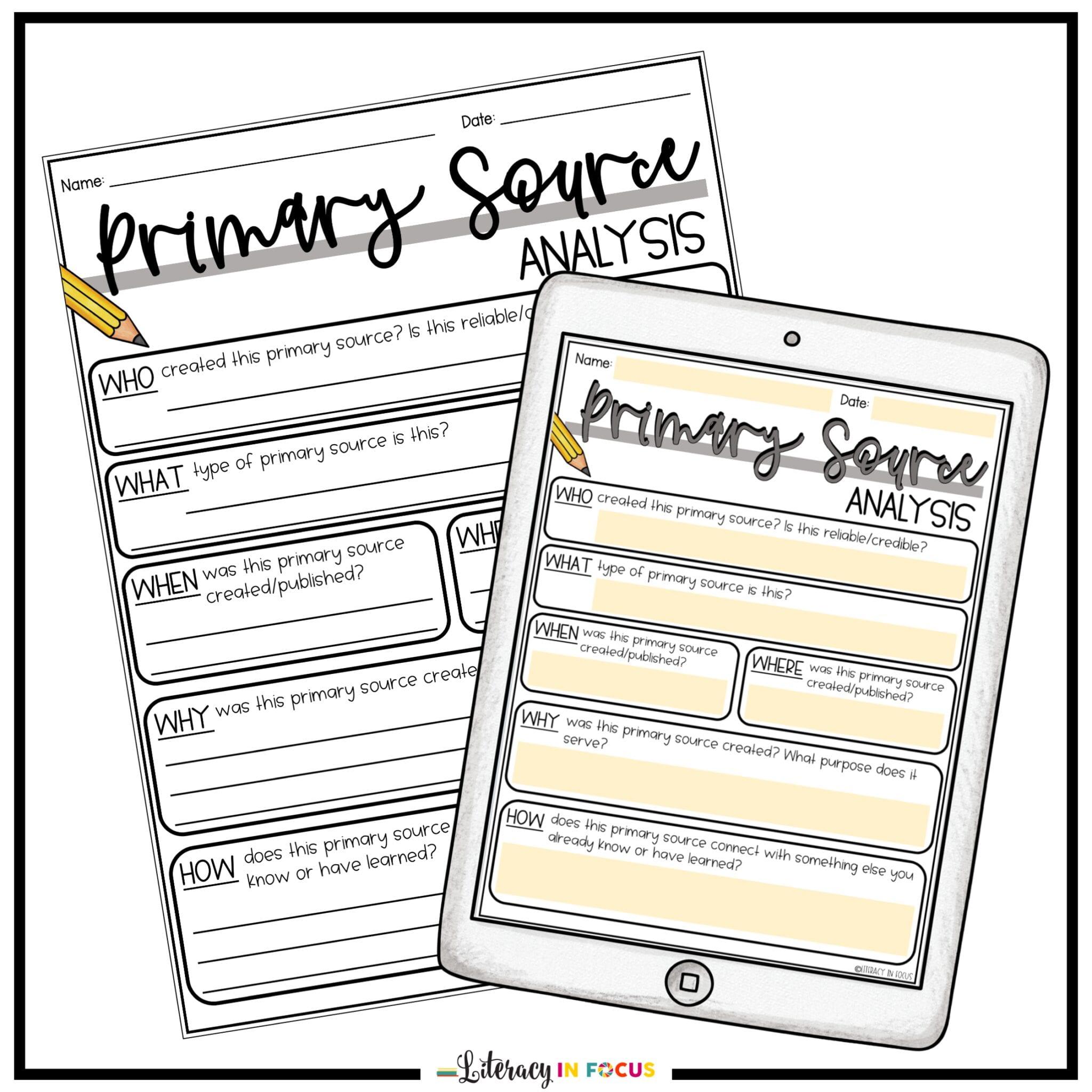 Free Printable and Digital Primary Source Analysis Worksheet
