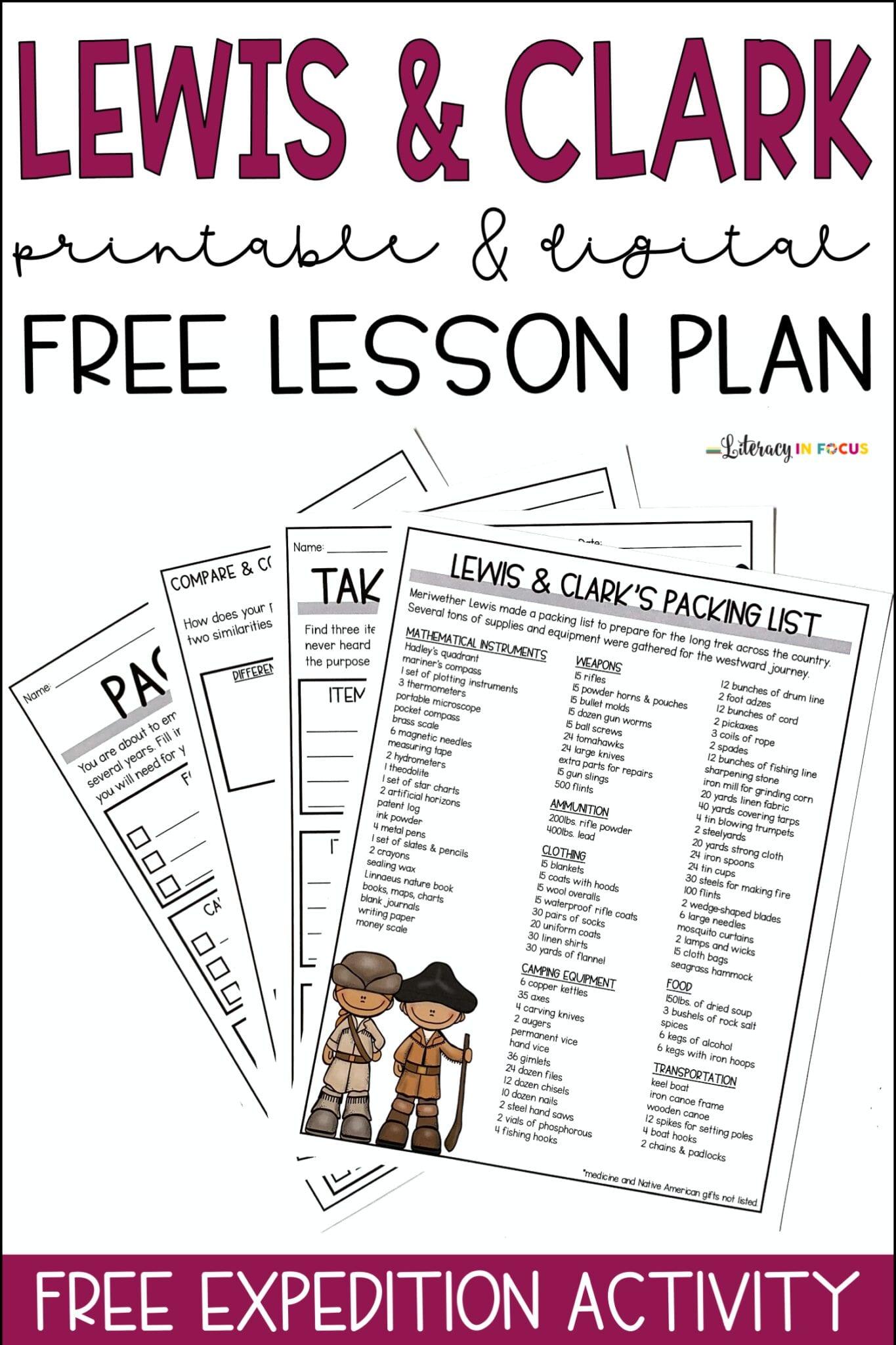 Lewis and Clark Free Printable PDF Lesson Plan