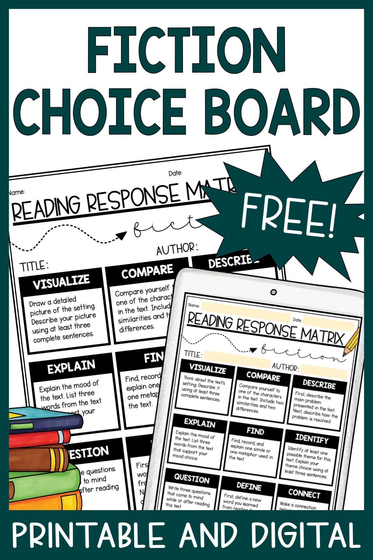 Free Fiction Choice Board for Teachers