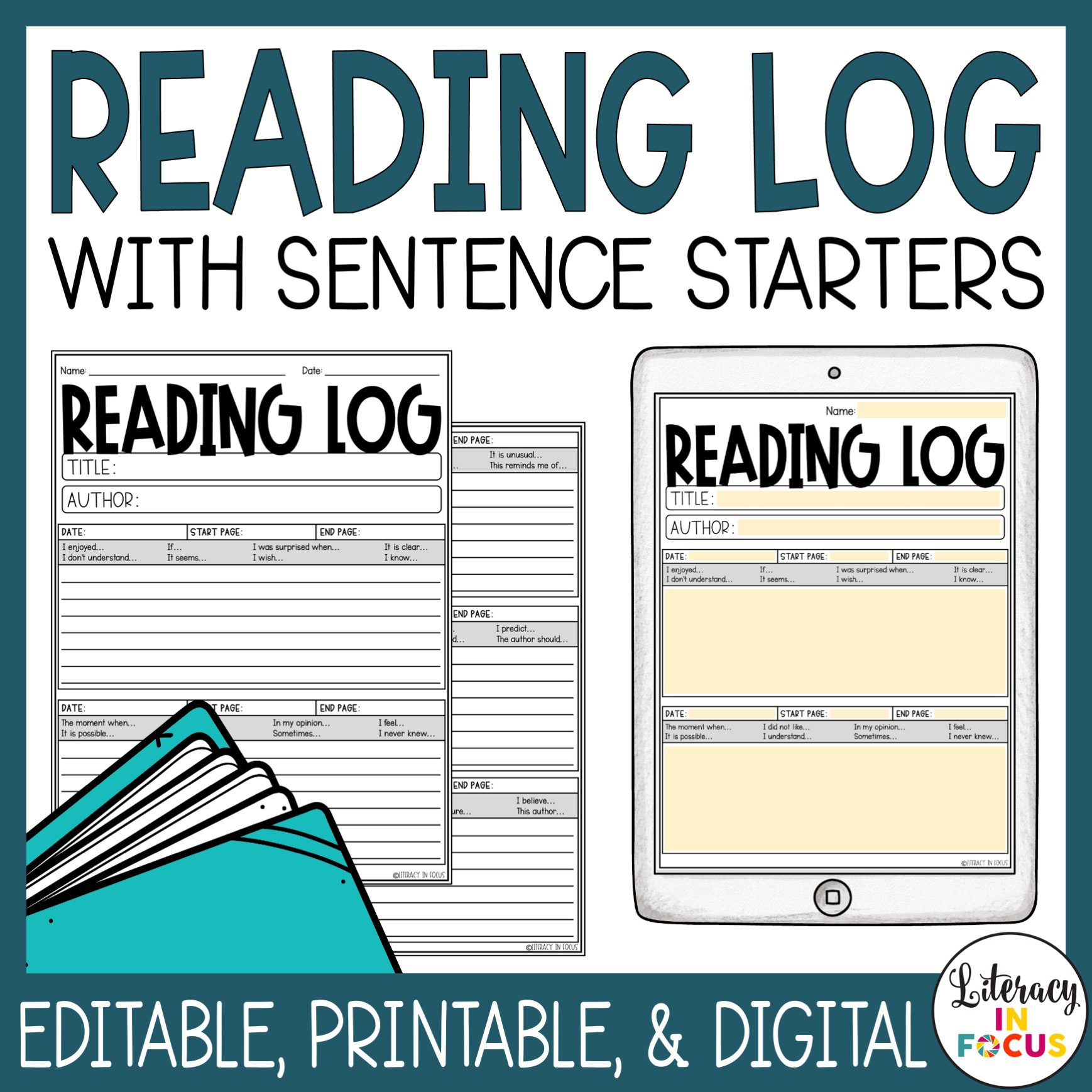 Editable Reading Log for Students