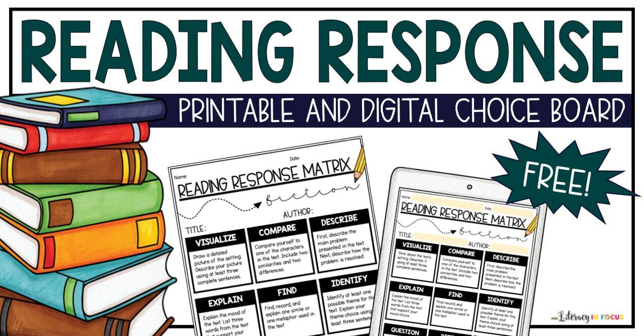 printable and digital reading response choice board