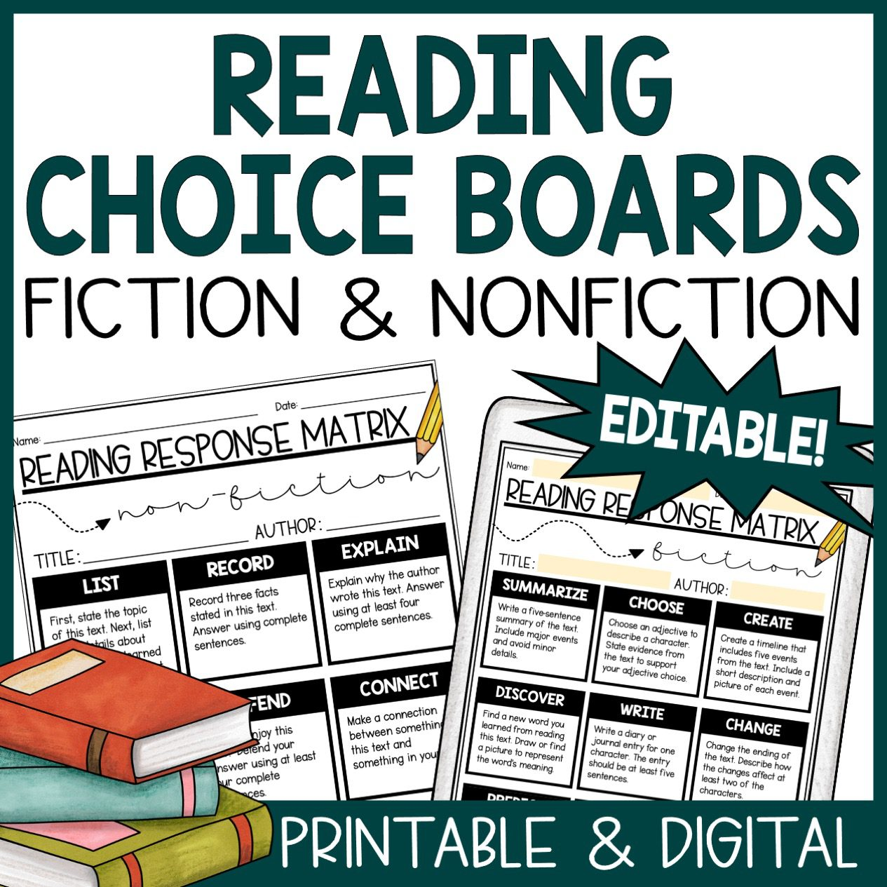 Reading Choice Boards for Elementary and Middle School